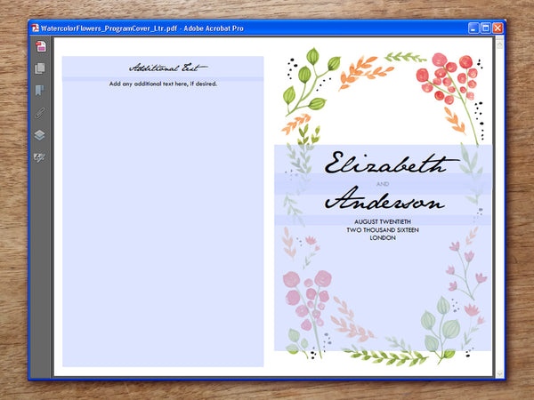 Printable Wedding Program - Watercolor Flowers