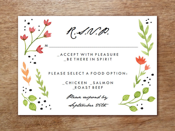Printable Wedding RSVP Card - Watercolor Flowers
