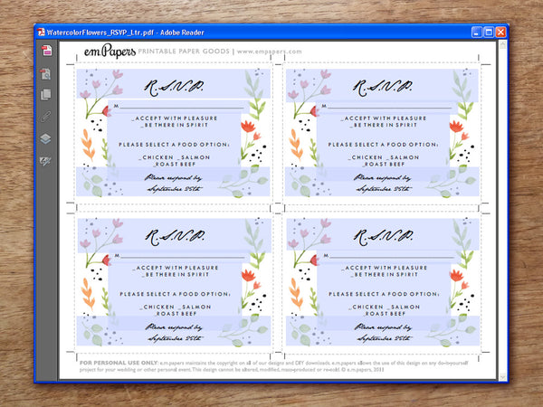 Printable Wedding RSVP Template - Watercolor Flowers