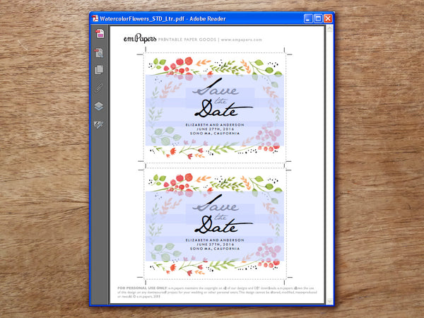 Printable Save the Date - Watercolor Flowers