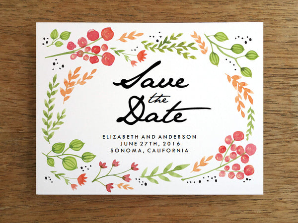 Printable Save the Date - Water Color Flowers