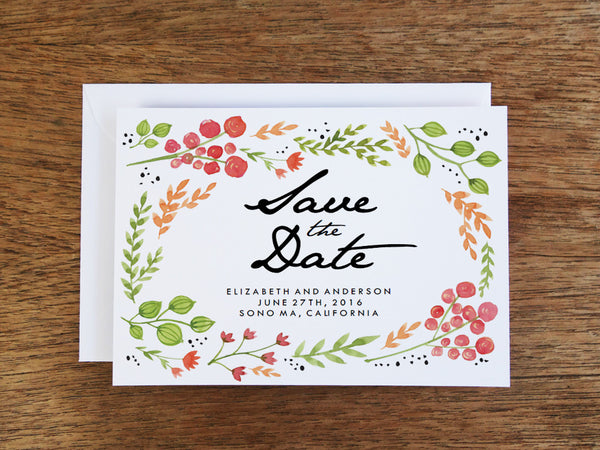 Printable Wedding Save the Date - Watercolor Flowers