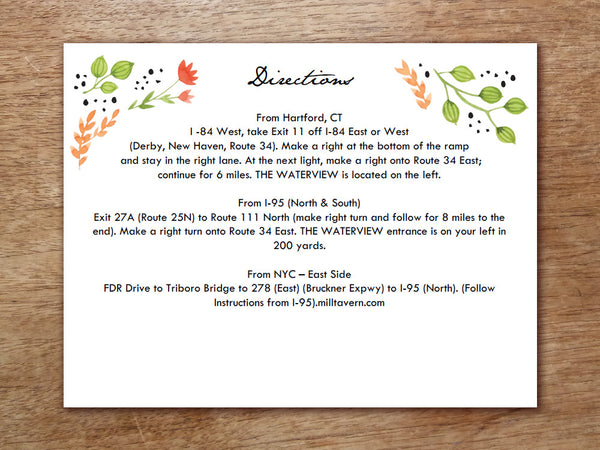 Printable Wedding Detail Card - Watercolor Flowers
