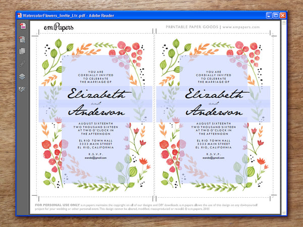 Printable Wedding Invitation - Watercolor Flowers