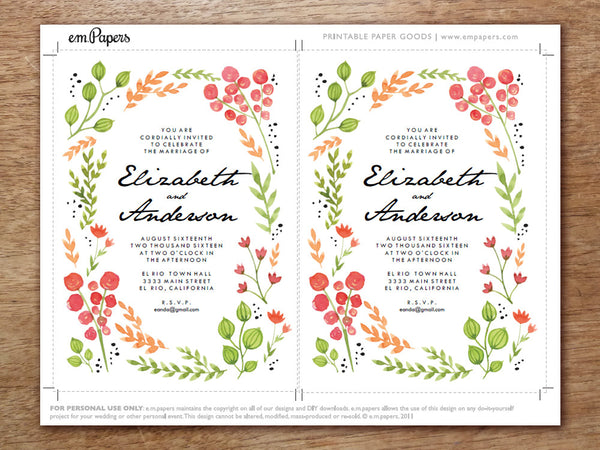 Printable Wedding Invitation Template - Watercolor Flowers