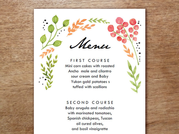 Printable Menu - Watercolor Flowers