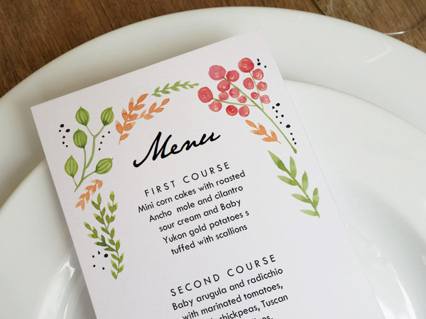 Printable Wedding Menu - Watercolor Flowers