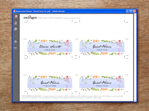 Printable Place Card - Watercolor Flowers