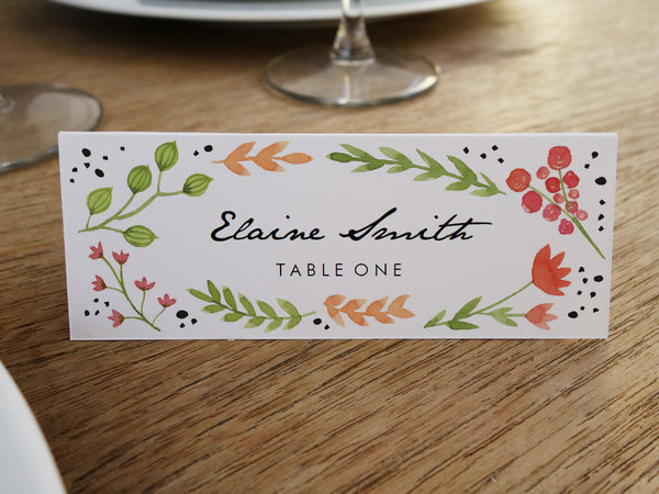 Printable Wedding Place Card - Watercolor Flowers