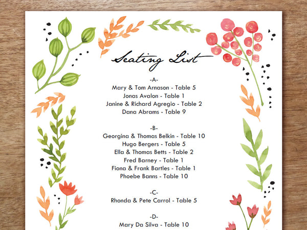 Printable Wedding Seating Sign - Watercolor Flowers