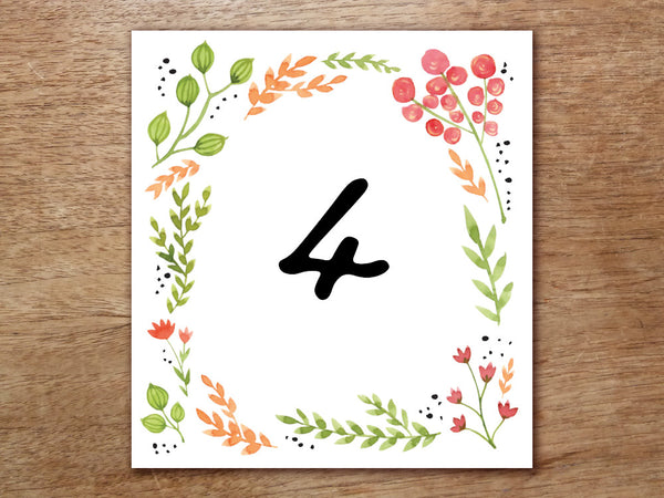 Printable Table Number - Watercolor Flowers