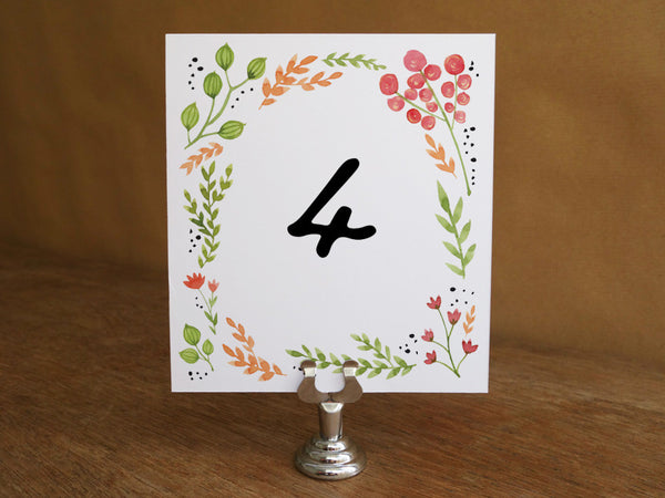 Printable Wedding Table Number - Watercolor Flowers