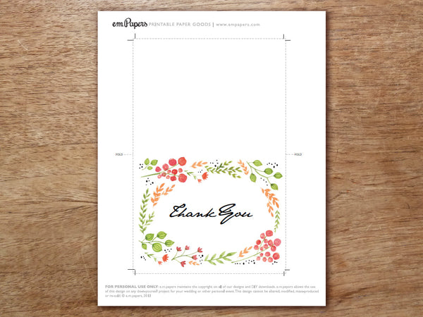Printable Thank You Card - Watercolor Flowers