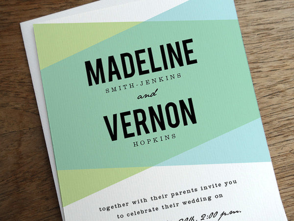 Printable Wedding Invitation - Blue Green Geometric