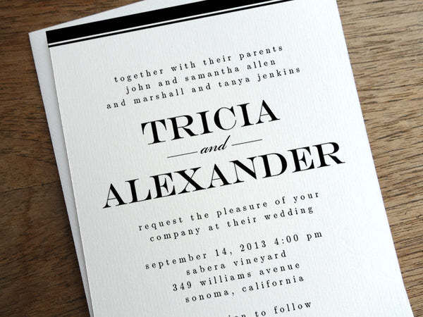 Printable Wedding Invitation - Black Stripe
