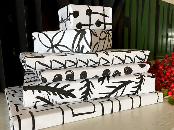 Printable Wrapping Paper - Black and White Shapes