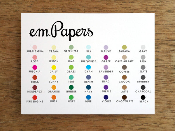 e.m.papers color options