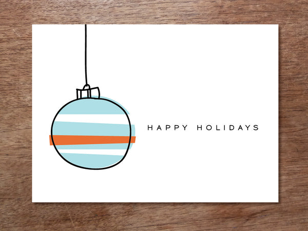 Printable Christmas Card - Blue Ornament