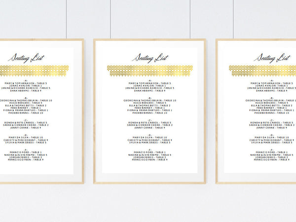 Glam Gold Printable Seating List