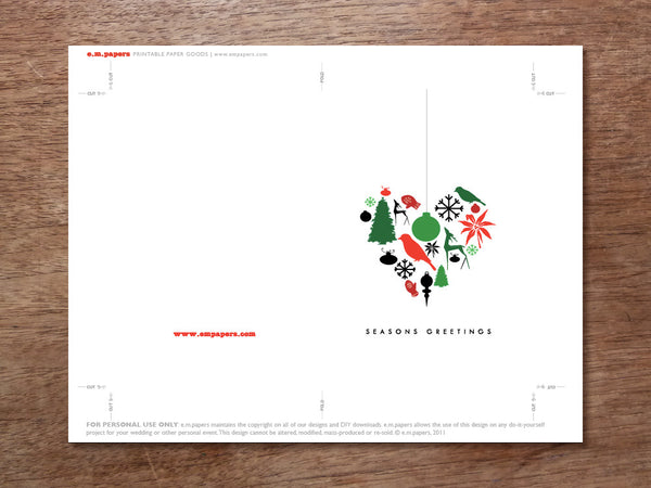 Printable Christmas Card - Heart of Christmas