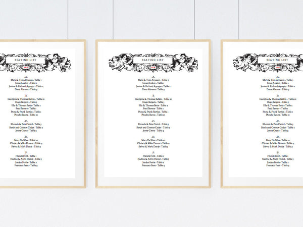 Vintage Cherub Printable Seating List