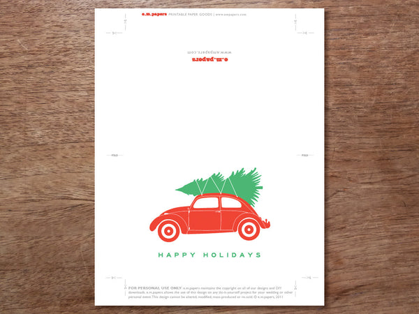 Printable Calendar - Christmas Tree VW Beetle