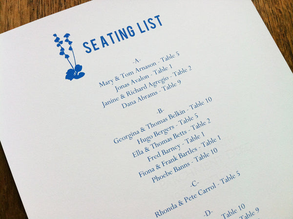 Printable Wedding Seating List - Bluebell