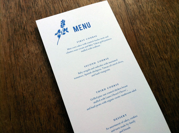 Printable Wedding Menu - Bluebell