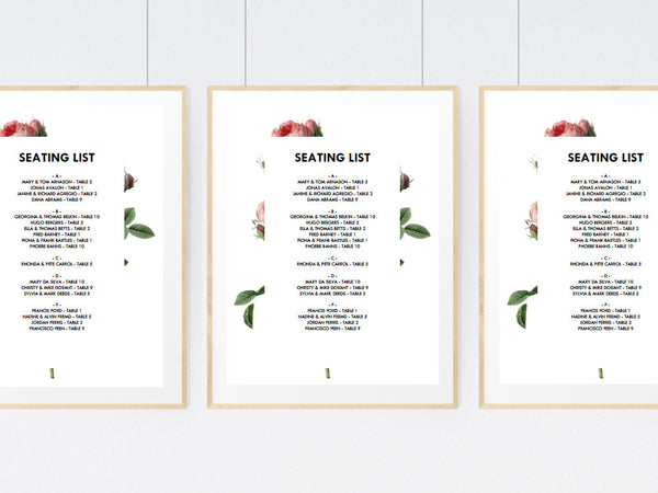 Vintage Roses Printable Seating Sign