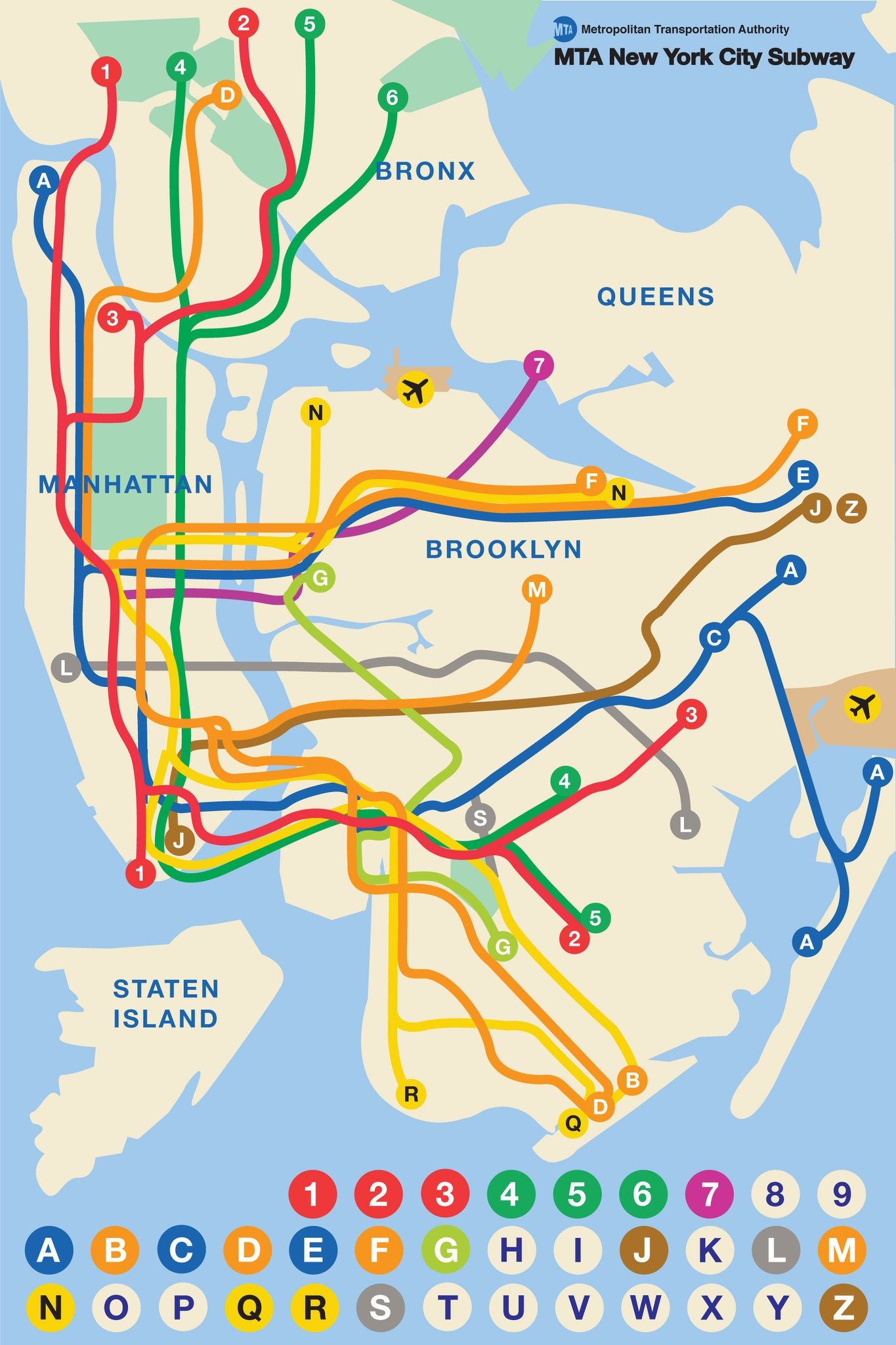 Queens And Manhatan Subway Map.New York Subway Map Kids New York Puzzle Company