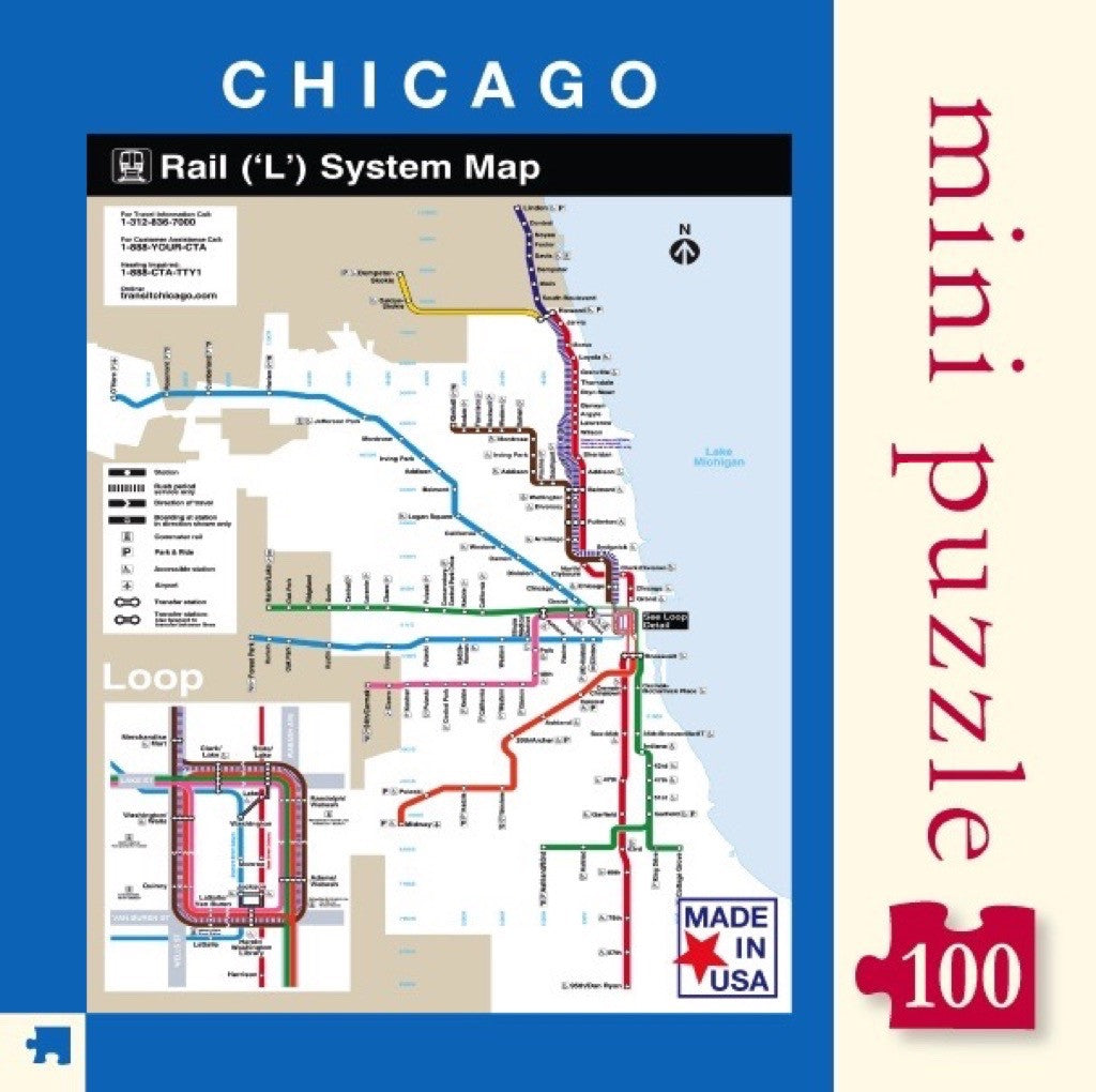 Transit Chicago Map.Chicago Transit Map Mini New York Puzzle Company