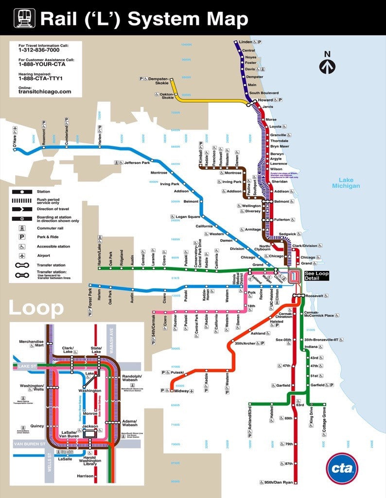 Chicago Subway Map Picture.Chicago Transit Map Mini