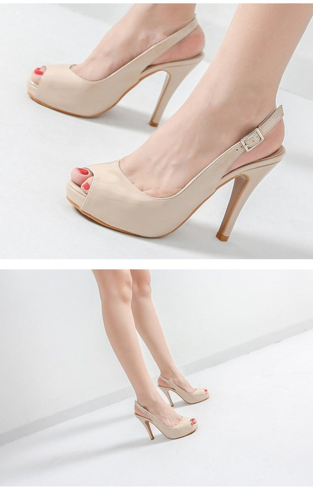 Women Fish Mouth Thin High Heels Party Platform Shoes - quixique