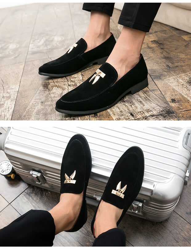 Unique Design Male Velvet Loafers - quixique