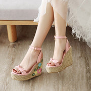 Embroidered Bow Slope With Flowers Thick Sandals - quixique