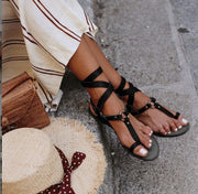 Cross-Tied Buckle Strap Flat Sandals - quixique