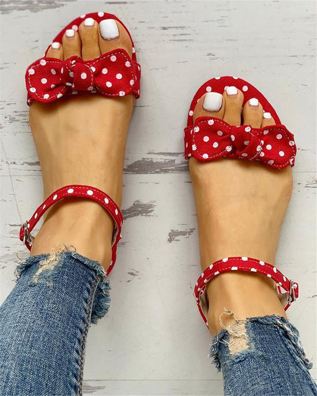 Large Size Polka Dot Flat Sandals For Woman - quixique