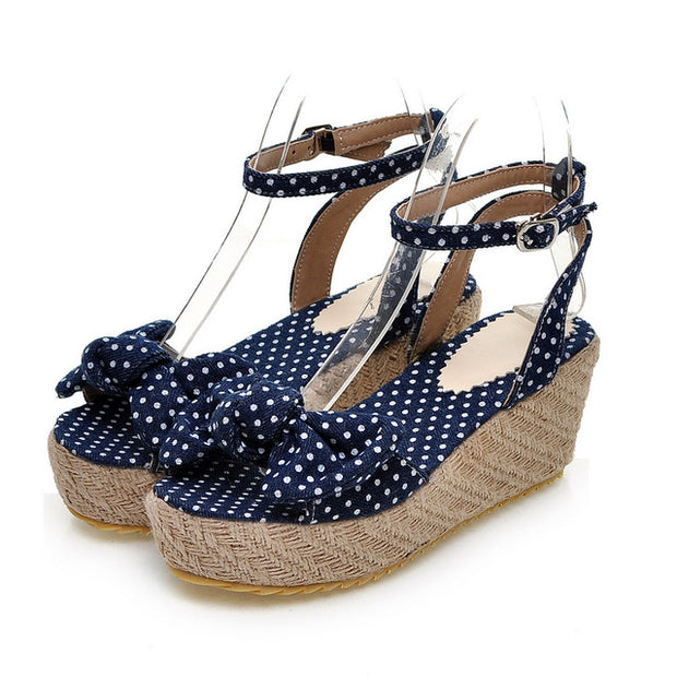Sweet Bow Polka Dot Fashion Women's Heels - quixique