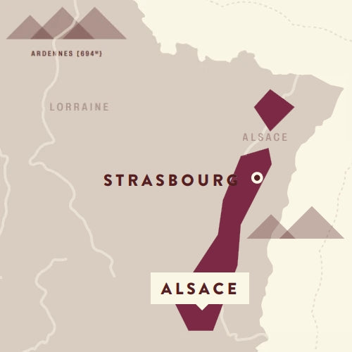 Alsace wine region on a map