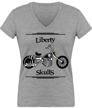 Load image into Gallery viewer, T-Shirt FEMME Liberty Skulls Moto - Coton - - Liberty Skulls