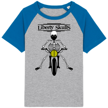 Load image into Gallery viewer, T-shirt Vintage ENFANT Liberty Skulls Moto Squelette - Coton Bio - - Liberty Skulls