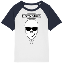 Load image into Gallery viewer, T-shirt Vintage ENFANT Liberty Skulls Beau Gosse - Coton Bio - - Liberty Skulls