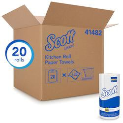 Scott Kitchen Paper Towels (41482) with Fast-Drying Absorbency Pockets, Perforated Standard Paper Towel Rolls, 128 Sheets / Roll, 20 Rolls / Case