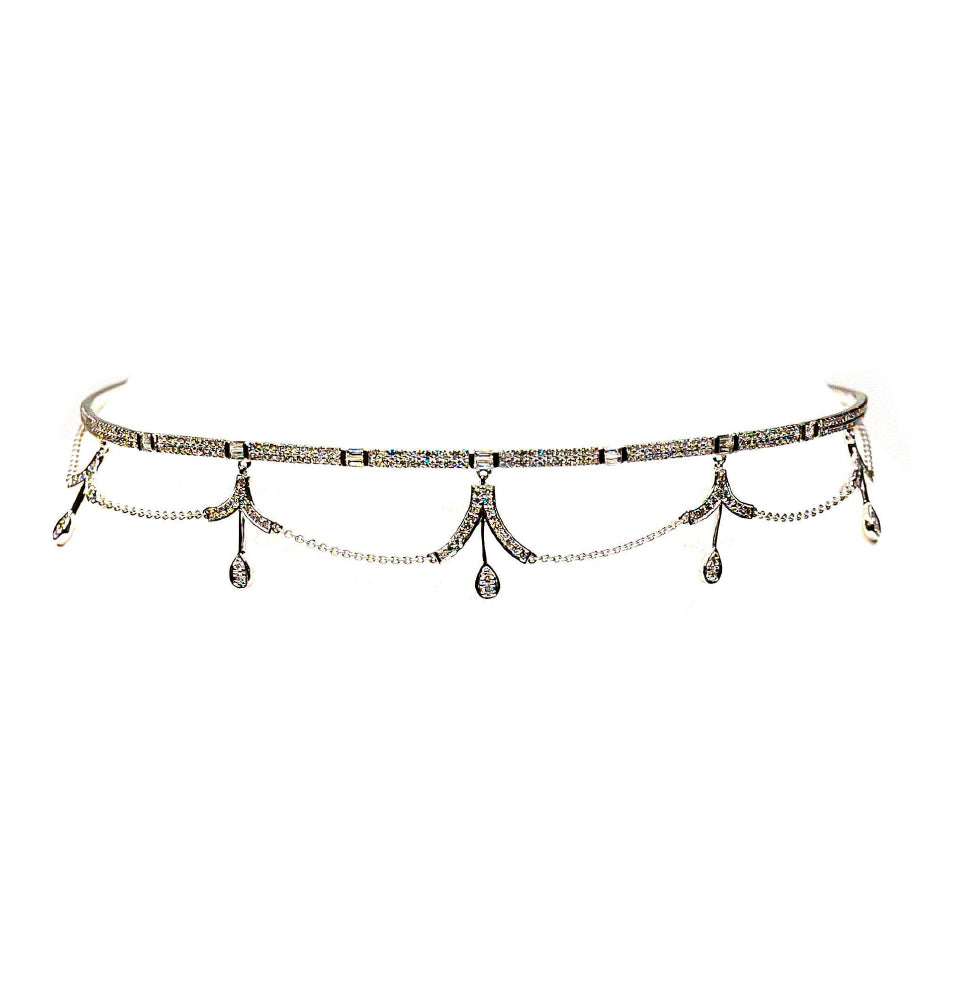 14K White Gold & Diamond Solid Princess Choker