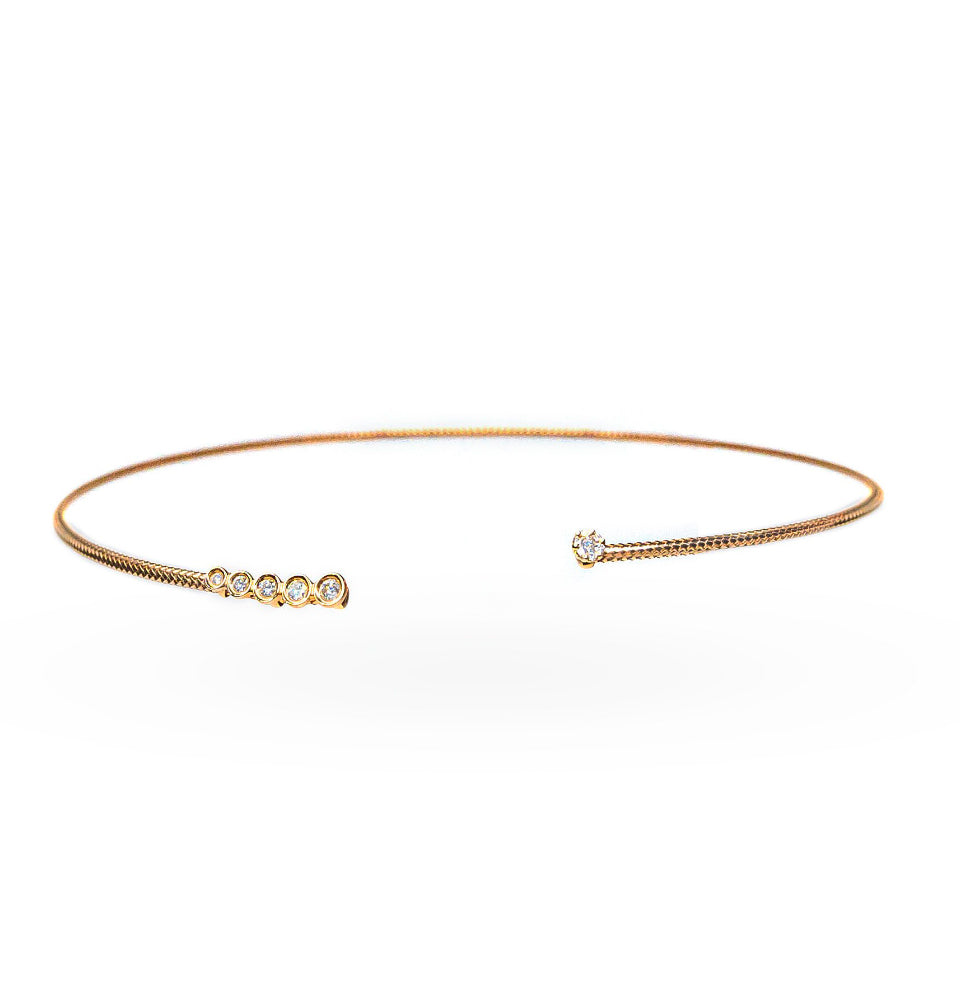 18K Rose Gold & Diamond Solid Choker Necklace