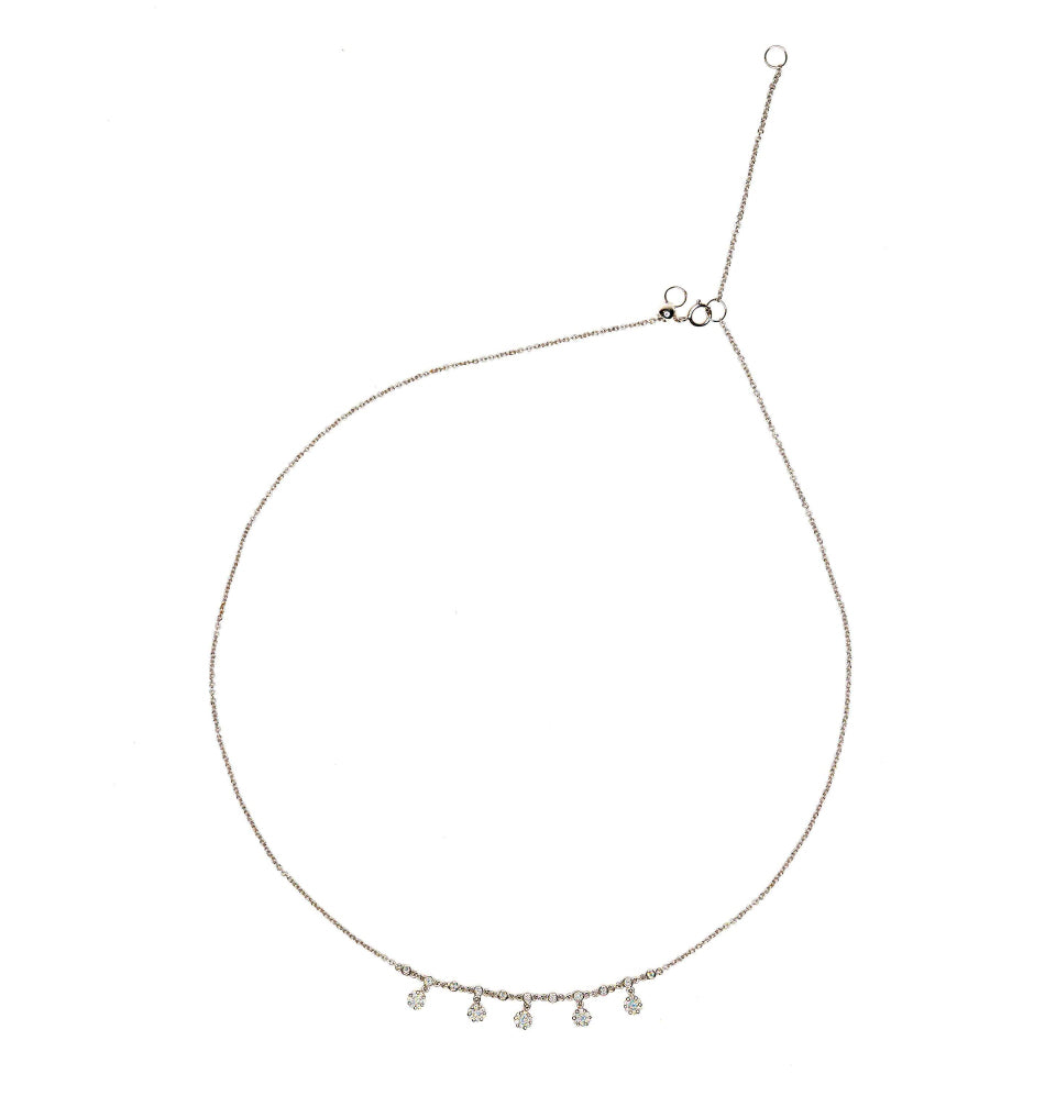 18K White Gold & Diamond Dainty Simple Chain Necklace