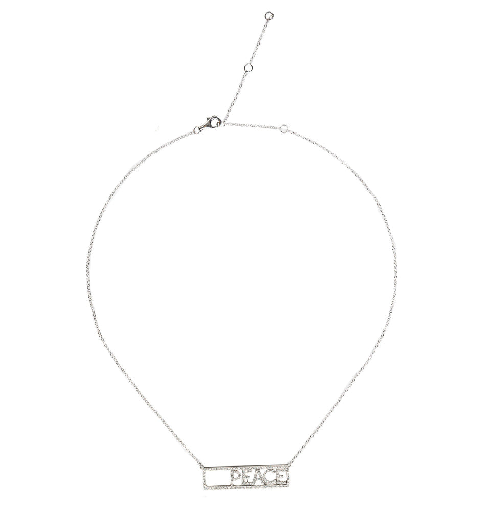 "18K White Gold & Diamond ""PEACE"" Word Necklace"