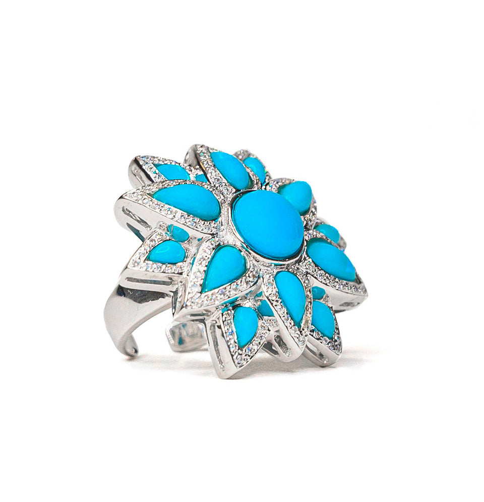 18K White Gold, Turquoise & Diamond Statement Flower Ring