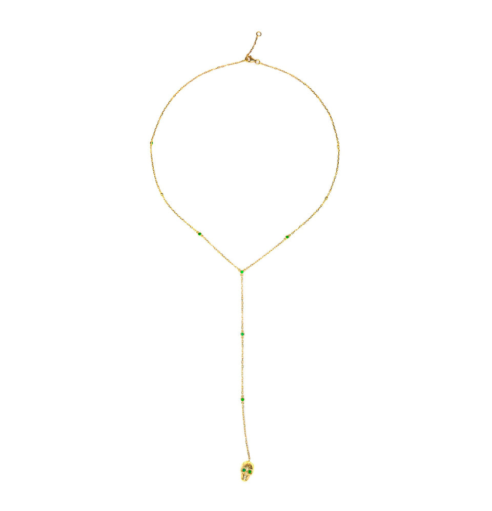 18K Yellow Gold & Emerald Skull Necklace