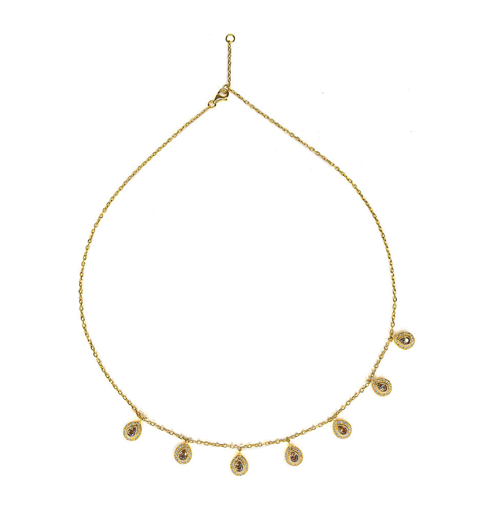 18K Yellow Gold, Topaz & Diamonds Layering Necklace